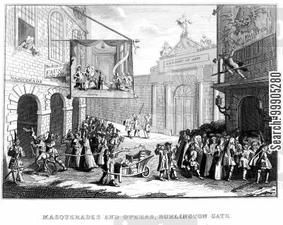 george second cartoon humor: Masquerades and Operas, Burlington Gate.