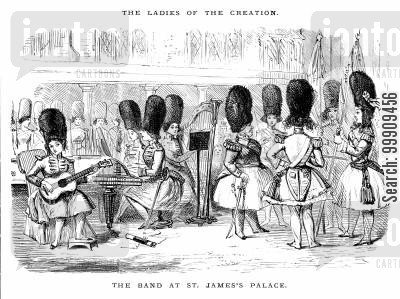 feminists cartoon humor: Women Take The Place Of The Band At St.James Palace.