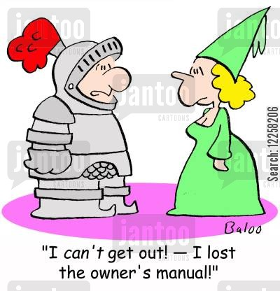 suit of armor cartoon humor: 'I can't get out! -- I lost the owner's manual!'