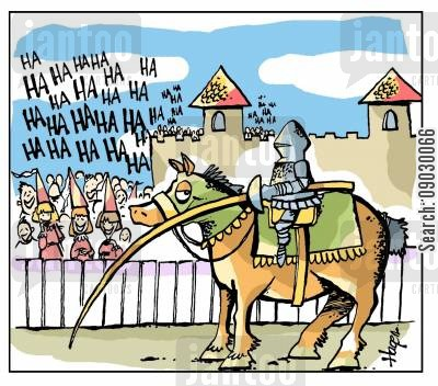 medieval cartoon humor: Knight being ridiculed for the condition of his lance.