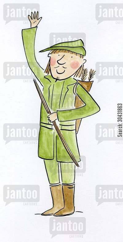 merry men cartoon humor: Robin Hood.