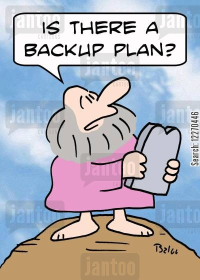 back up plans cartoon humor: 'Is there a backup plan?'