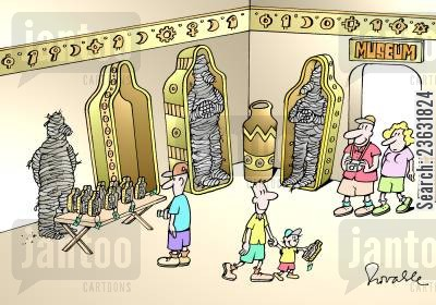 alive cartoon humor: Mummy is alive at an Egyptian exhibit at a museum.