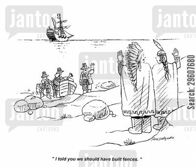 annoyed cartoon humor: 'I told you we should have built fences.'