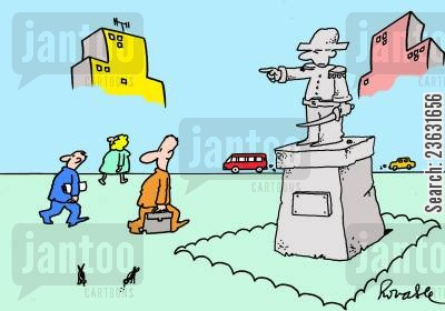 directed cartoon humor: Statue points and others follow direction.