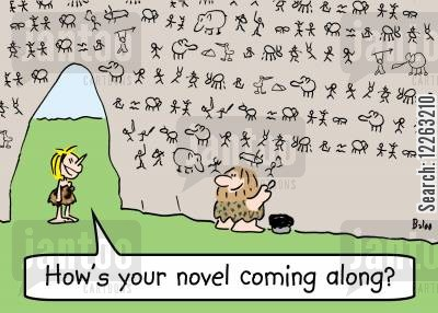 ancient literature cartoon humor: 'How's your novel coming along?'