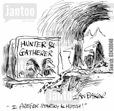 detective show cartoon humor: 'I prefer Starsky & Hutch!'