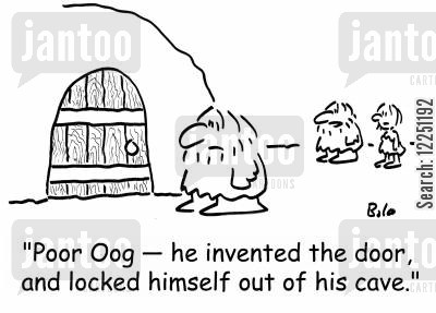 locked out cartoon humor: 'Poor Oog -- he invented the door, and locked himself out of his cave.'