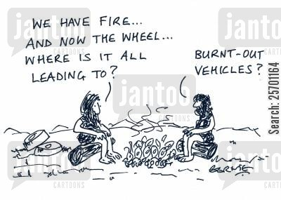 burnt out vehicles cartoon humor: 'We have fire...and now the wheel...where is all leading to?' 'Burnt-out vehicles?'