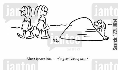 stone ages cartoon humor: 'Just ignore him- it's just Peking Man.'