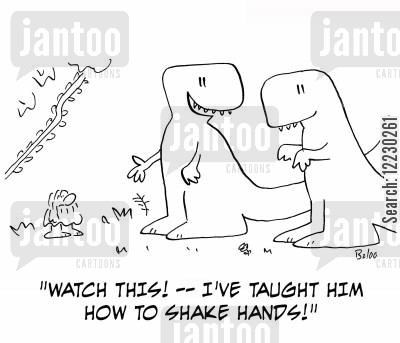 first human cartoon humor: 'Watch this! — I've taught him how to shake hands!'