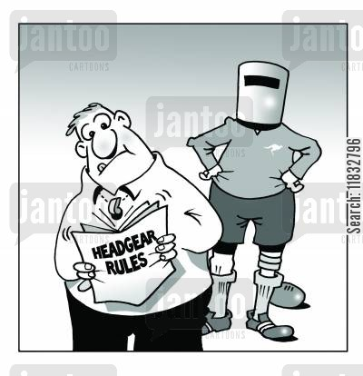 rugby headgear cartoon humor: Headgear