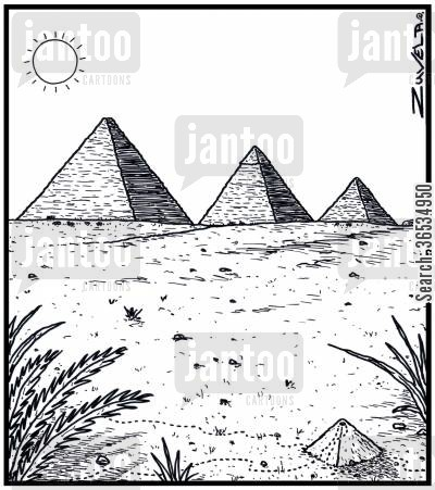 pyramid cartoon humor: An Ant's nest in the form of a Pyramid