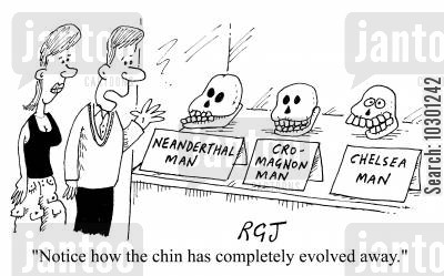 hominid cartoon humor: Notice how the chin has completely evolved away.