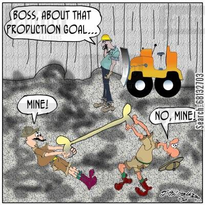 quarry cartoon humor: As two paleontologists fight over a dinosaur bone in a quarry a driver by an idle bulldozer says on the phone, 'Boss, about that production goal ... '