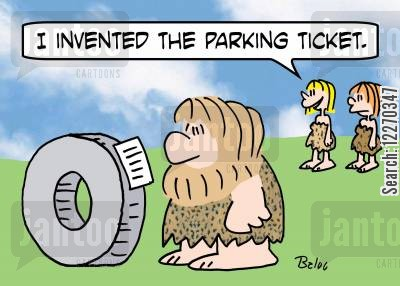 parking fees cartoon humor: 'I invented the parking ticket.'