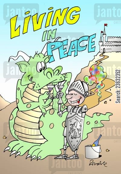 harmonious cartoon humor: Living in peace.