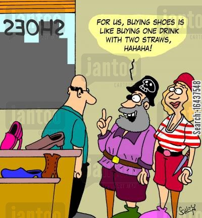 pirate leg cartoon humor: 'For us, buying shoes is like buying one drink with two straws, hahaha!'