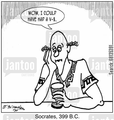 hemlock cartoon humor: Socrates, 399 B.C: 'Wow, I could have had a V-8.'