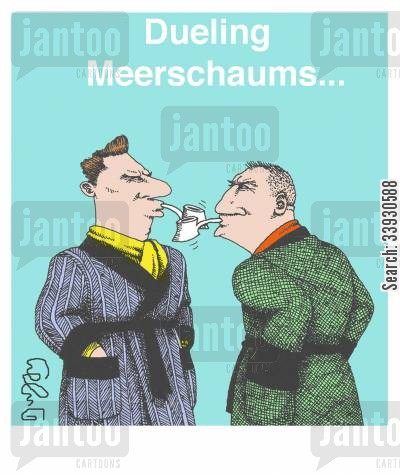 smoking jacket cartoon humor: Dueling Meerschaums...