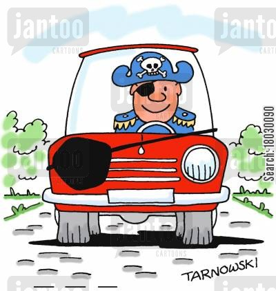 privateer cartoon humor: Pirate's car has patch for the headlight.