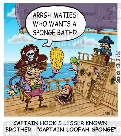 captain hook cartoon humor: Captain Hook's lesser known brother - 'Captain Loofah Sponge',