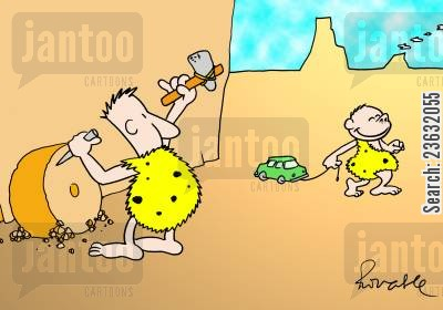 pre-historic men cartoon humor: Evolution,