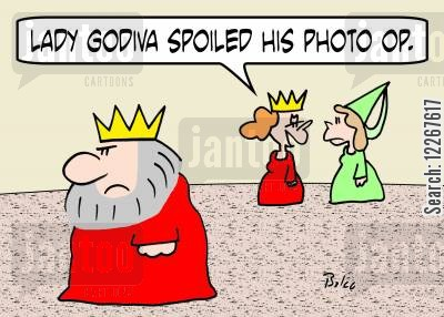 coventry cartoon humor: 'Lady Godiva spoiled his photo op.'