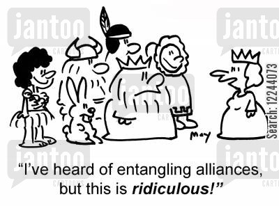 entangling cartoon humor: 'I've heard of entangling alliances, but this is ridiculous!'