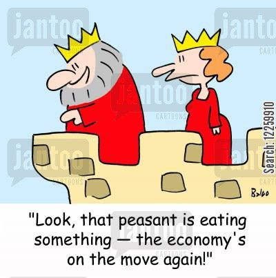 famines cartoon humor: 'Look, that peasant is eating something -- the economy's on the move again!'