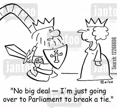 armors cartoon humor: 'No big deal -- I'm just going over to Parliament to break a tie.'
