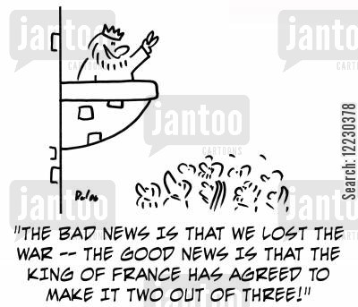tzar cartoon humor: The bad news is that we lost the war -- the good news is that the king of France has agreed to make it two out of three!