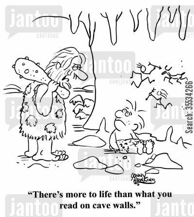 cave wall art cartoon humor: Caveman to kid: 'There's more to life than what you read on cave walls.'
