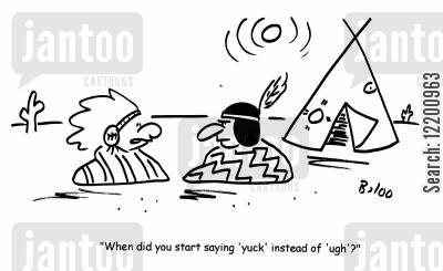 tipee cartoon humor: 'When did you start saying 'yuck' instead of 'ugh'?'