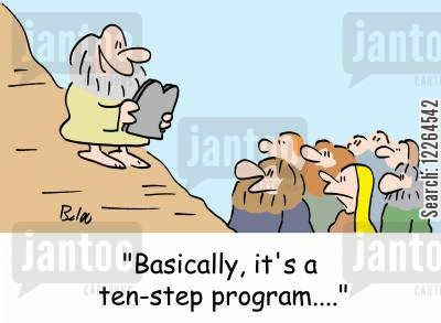 religious laws cartoon humor: 'Basically, it's a ten-step program....'