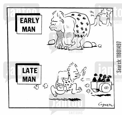 repetition cartoon humor: Early Man Late Man