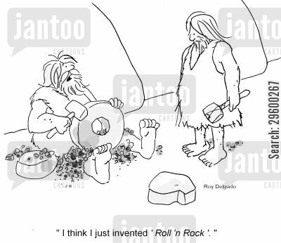 historian cartoon humor: 'I think I just invented 'Rock 'n Roll'.'