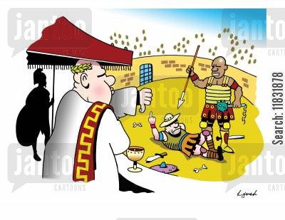 give the finger cartoon humor: The Gladiator.
