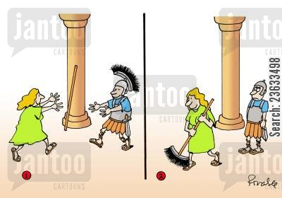 feather duster cartoon humor: Woman runs towards Roman soldier only to steal his feathered helmet to use as a brush.