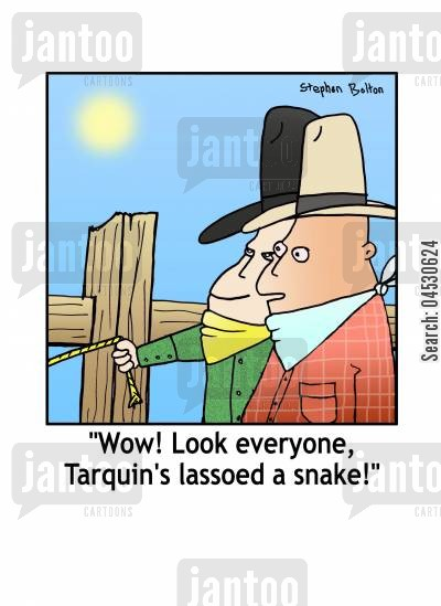 ropes cartoon humor: 'Wow! Look everyone, Tarquin's lassooed a snake!'