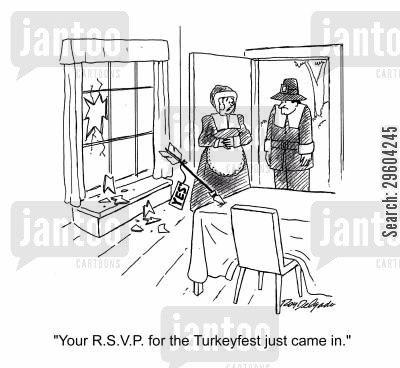 invitation cartoon humor: 'Your R.S.V.P. for the Turkeyfest just came in.'