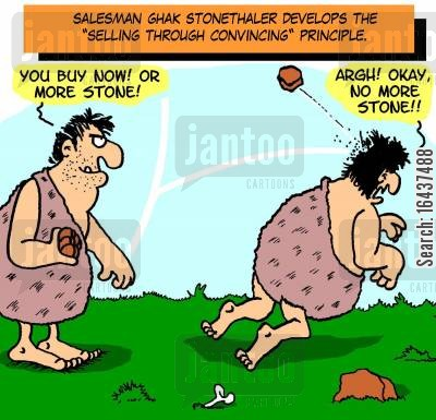 pushy salesman cartoon humor: Salesman Ghak Stonethaler develops the 'Selling Through Convincing' principle.