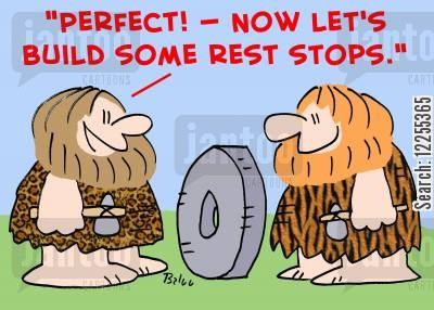 rest stops cartoon humor: 'Perfect! -- Now let's build some rest stops!'