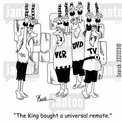 hanging prisoner cartoon humor: 'The King bought a universal remote.'