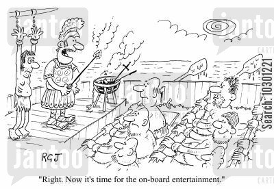 slave ship cartoon humor: Now its time for the on-board entertainment.