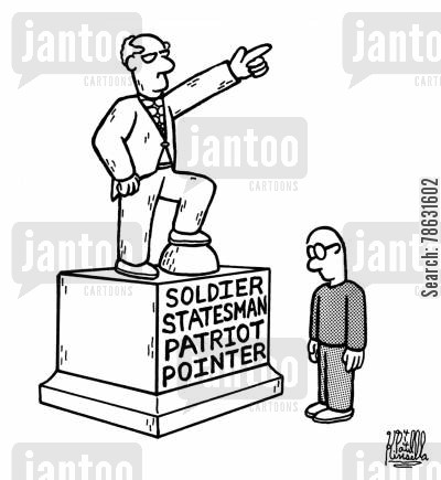 monument cartoon humor: Soldier, Statesman, Patriot and Pointer