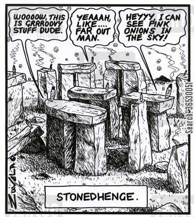 historic cartoon humor: Stonedhenge.