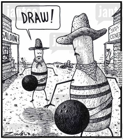 bowling balls cartoon humor: Two Tenpin Bowling Pin Cowboys about to fight it out using Bowling balls