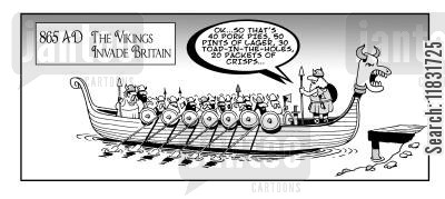 toad in the hole cartoon humor: The Vikings invade Britain.