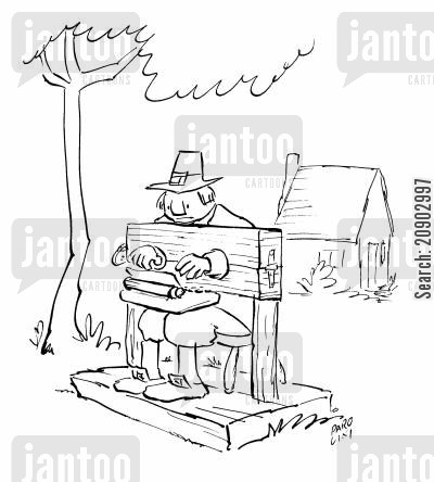 corporal punishment cartoon humor: Man in the stocks on his typewriter.